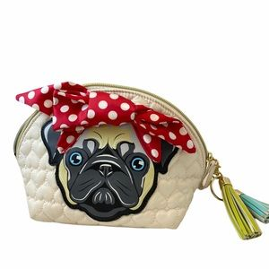 BETSEY JOHNSON Cream Pug With Bow Cosmetic Bag